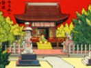 Japan Vintage - Illustration Of A Shrine In A Garden wall mural thumbnail
