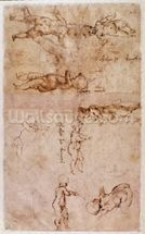 W.4v Page of sketches of babies or cherubs (ink on paper) mural wallpaper thumbnail