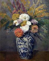 Dahlias, c.1873 (oil on canvas) wall mural thumbnail
