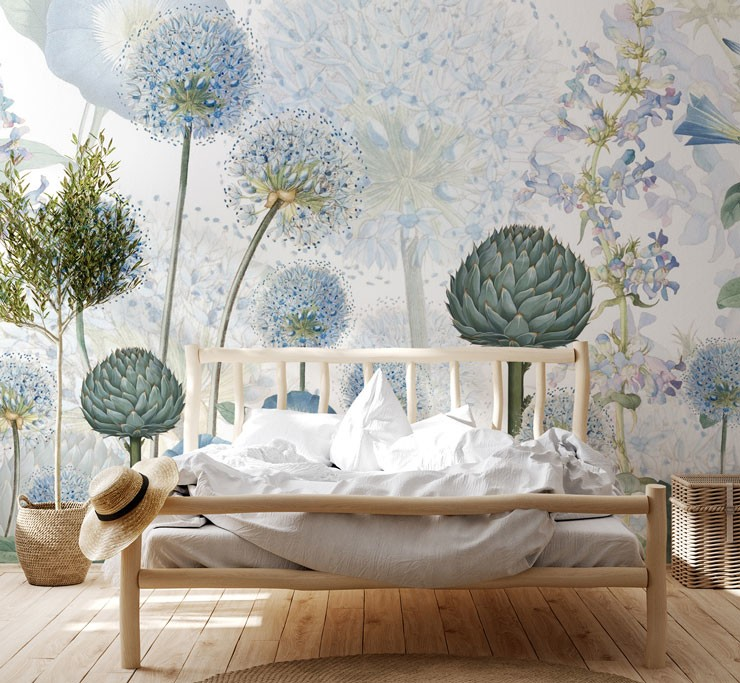 blue and green illustrated botanical wallpaper in boho bedroom