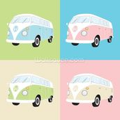 Colourful Campervans wall mural thumbnail