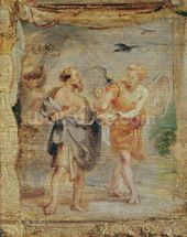 Elijah Receiving Bread and Water from an Angel, c.1626-28 mural wallpaper thumbnail