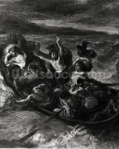 Christ on the Sea of Galilee, 1853 (oil on canvas) (b/w photo) wall mural thumbnail