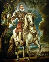 Equestrian portrait of the Duke of Lerma (1553-1625) 1603 (oil on canvas) wallpaper mural thumbnail