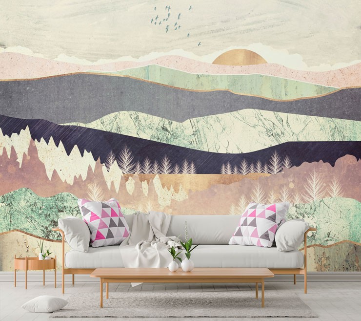 pink, purple and silver abstract landscape wallpaper in subtle lounge