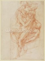 Study of Lazarus and two Attendant Figure (red chalk on paper) wallpaper mural thumbnail
