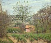 The Cottage, or the Pink House - Hamlet of the Flying Heart, 1870 (oil on canvas) wallpaper mural thumbnail