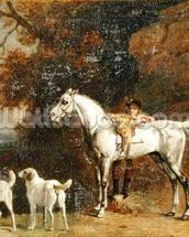 Huntsman with a Grey Hunter and Two Foxhounds: details from the Goodwood Hunting picture, 1760-61 (oil on four pieces of paper conjoined on canvas) mural wallpaper thumbnail