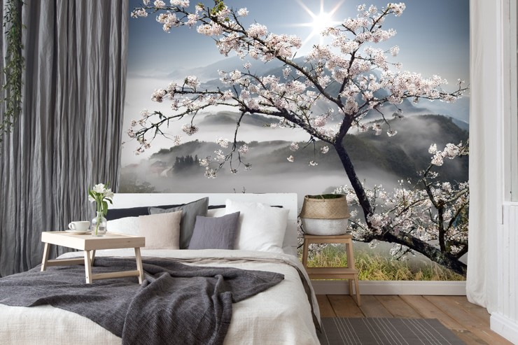 Cherry Blossom Tree Mural In Bedroom
