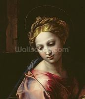 The Madonna (detail from The Holy Family (La Perla), c.1518 (oil on panel) (see 56299) mural wallpaper thumbnail