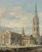 North-east View of Grantham Church, Lincolnshire, c.1797 (w/c over graphite on paper) mural wallpaper thumbnail