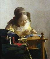 The Lacemaker, 1669-70 (oil on canvas) wallpaper mural thumbnail