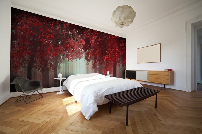 red tree mural in bedroom