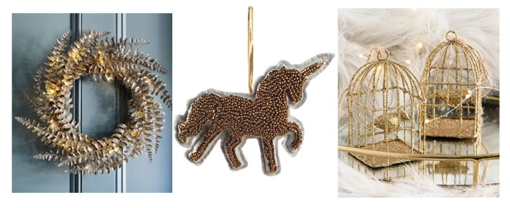 gold wreath, unicorn and bird cages christmas decorations
