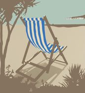 Bournemouth Blue Deckchair wallpaper mural thumbnail