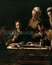 Supper at Emmaus, 1606 (oil on canvas) (see also 169588) wallpaper mural thumbnail