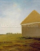 Newmarket Heath, with a Rubbing-Down House, c.1765 (oil on canvas) (post-restoration) (see 111978) wallpaper mural thumbnail