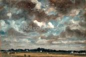 Extensive Landscape with Grey Clouds, c.1821 (oil on paper on canvas) wallpaper mural thumbnail