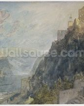 Rheinfels looking to Katz and Gourhausen, 1817 (w/c & gouache on paper) wallpaper mural thumbnail