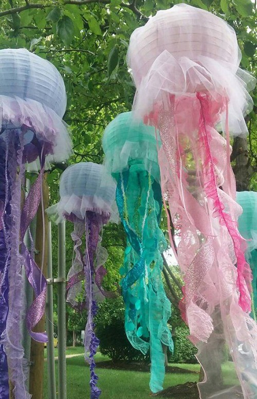 purple, pink and green jelly fish lanterns