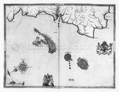 Map No.3 Showing the route of the Armada fleet, engraved by Augustine Ryther, 1588 (engraving) (b/w photo) wallpaper mural thumbnail