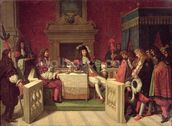 Moliere (1622-73) Dining with Louis XIV (1638-1715) 1857 (oil on canvas) mural wallpaper thumbnail