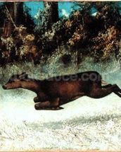 Leaping Doe (oil on canvas) wallpaper mural thumbnail