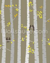 Birch Tree Love Birds mural wallpaper thumbnail