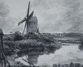 A mill on the banks of the River Stour (charcoal on paper) wall mural thumbnail