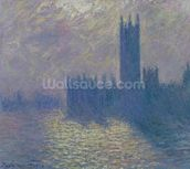 The Houses of Parliament, Stormy Sky, 1904 (oil on canvas) wall mural thumbnail