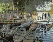 Bathers at La Grenouillere, 1869 (oil on canvas) wall mural thumbnail