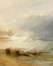 Wreckers - Coast of Northumberland, With a Steam Boat Assisting a Ship off Shore, 1834 (oil on canvas) wallpaper mural thumbnail