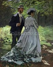 The Promenaders, or Bazille and Camille, 1865 (oil on canvas) wallpaper mural thumbnail