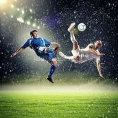 Two football players striking the ball wallpaper mural thumbnail