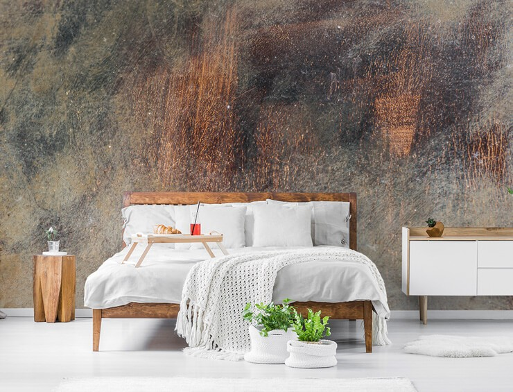 rusty orange and grey rust wallpaper in bedroom with wooden bed