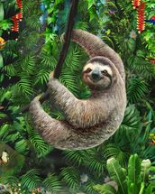 Sloth in Jungle mural wallpaper thumbnail