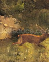 Stag Running through a Wood, c.1865 (oil on canvas) wall mural thumbnail