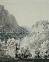 Waterfall at Lodore, Cumberland (grey & blue wash over graphite on paper) wall mural thumbnail