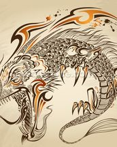 Tattoo Art - Dragon Illustration wall mural thumbnail