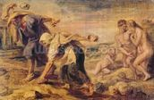 Deucalion and Pyrrha Repeople the World by Throwing Stones Behind Them, c.1636 (oil on canvas) wallpaper mural thumbnail