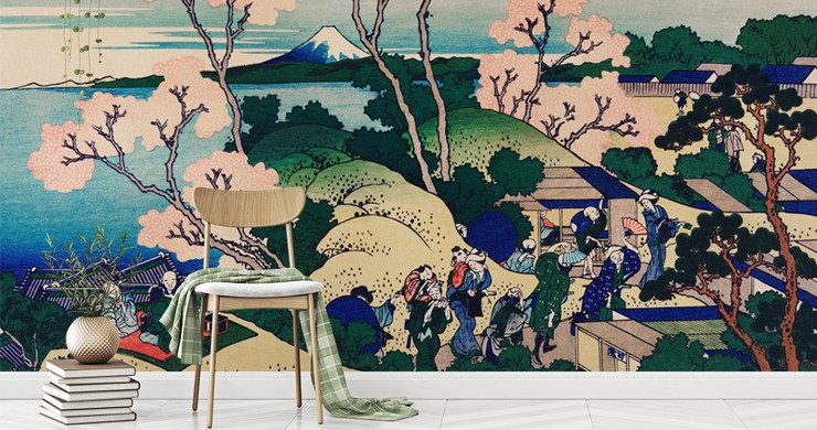 oriental painting of blossom tree, sea, and people living on hill