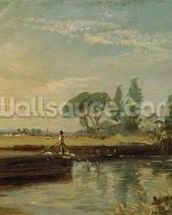 A Barge below Flatford Lock, c.1810 (oil on canvas) mural wallpaper thumbnail