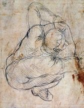 Study for the Last Judgement (black chalk on paper) (recto) (for verso see 191772) mural wallpaper thumbnail