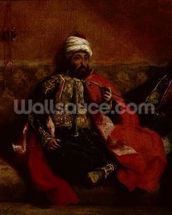 A Turk smoking sitting on a sofa, c.1825 (oil on canvas) wallpaper mural thumbnail