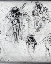 Study of nude men (pen and ink on paper) wall mural thumbnail