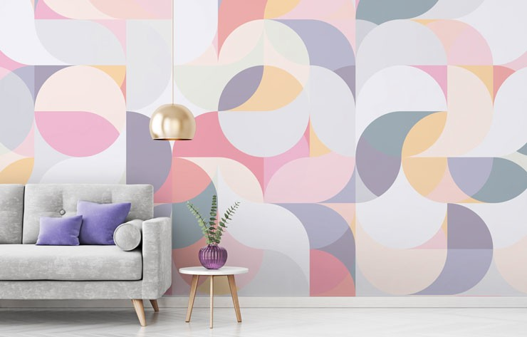pastel circles and waves shapes wallpaper in modern home
