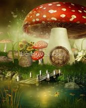 Toad Stool House wallpaper mural thumbnail