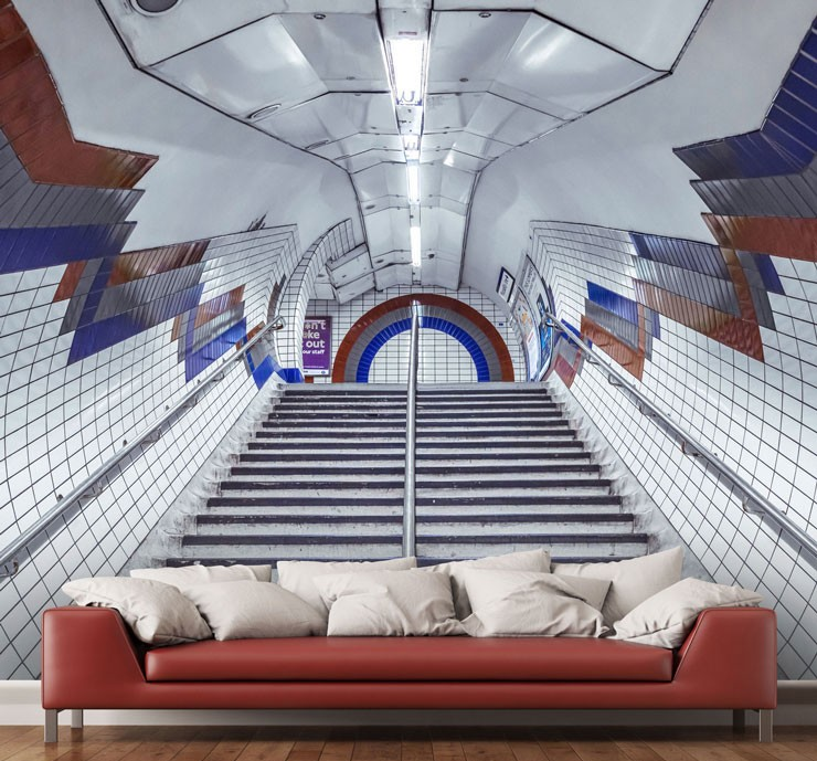 red, blue and white underground stairs wall mural with red sofa