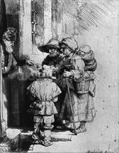 Beggars on the Doorstep of a House, 1648 (etching) (b/w photo) wall mural thumbnail