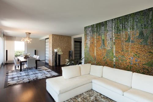 Gustav Klimt Birch Wood Mural
